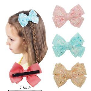 4-034-Cute-Baby-Grosgrain-Ribbon-Rhinestone-Hair-Hair-Clips-Girls-Bow-Bling-Hairpin