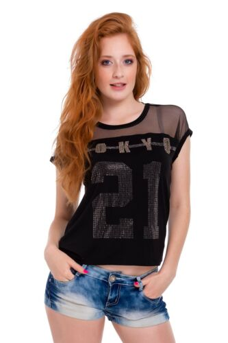 UK Damen Kurzärmelig Neues T-Shirt Strass Top Locker Sitzend BLUSE S-L FB314
