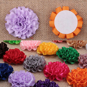 Wholesale-Bulk-20x-DIY-Ruffle-Carnation-Satin-Fabric-Flower-Craft-Headband-Clips