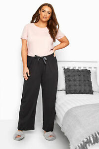 Yours Ropa Mujer Tallas Grandes Negro Pijama Pantalones Pantalones Informal 100 Algodon Ebay