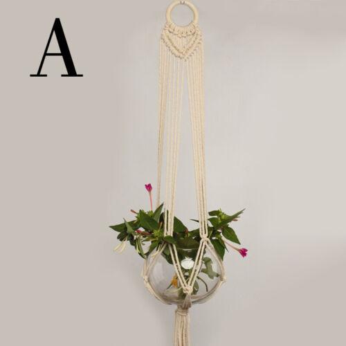 Pots Holder Macrame Plants Hanger Hanging Planter Basket Jute Braided Rope Craft