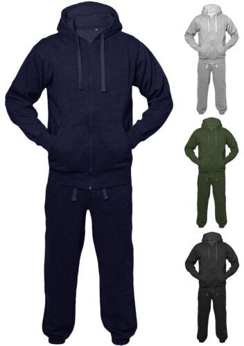 New Mens Womens Unisex Plain Jogging Sports Hoodie Jacket Full Tracksuit Set