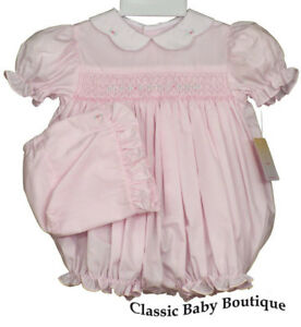 2bfb08450 NWT Petit Ami Pink Smocked Bubble Romper & Bonnet Baby Girls 3 6 9 ...
