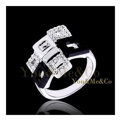 18k White Gold EP Brilliant Cut Crystal Fashion Ring