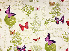 BUTTERFLY BLACKOUT GREEN PURPLE A63 CHILDRENS CURTAIN LINING FABRIC FLOWERS