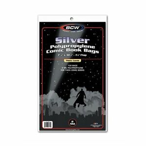 Case 1000 BCW Silver Age THICK Comic Book 2 Mil Archival Poly Bags 7 1/4x 10 1/2