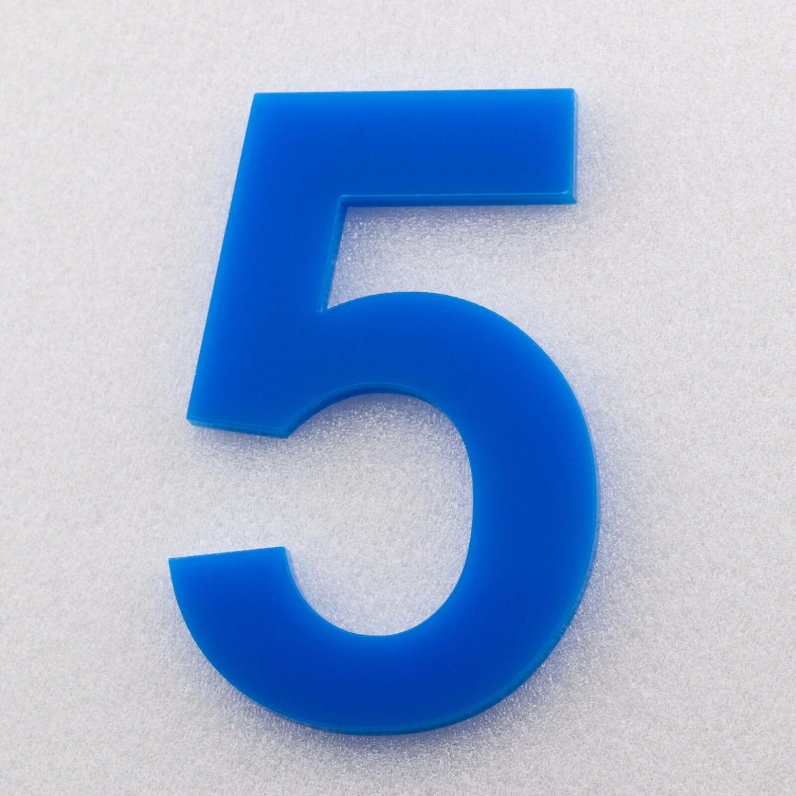 Hausnummer Acryl Hochglanz Himmelblau 5H51 - Türnummer - Nummer - Plexiglas