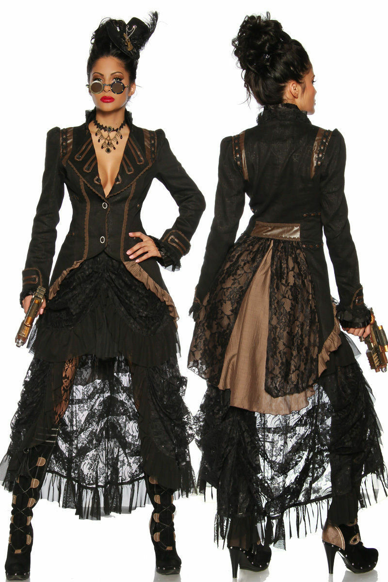 Steampunk-Mantel Frack im Gothic Look mit geprägtem Muster asymetrischem Schnitt