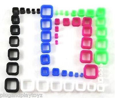 Pair Flexible Square Shape Silicone Flesh Tunnels Flared Plugs UV Flexi Earring