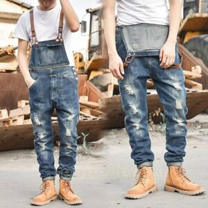 81681f7f1fe2 Image is loading Mens-Slim-Casual-Denim-Overalls-Jeans-Pants-Trousers-