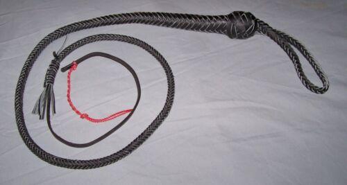 4 FT (environ 1.22 m) 12 Tressé Noir en Cuir Véritable Serpent fouet (auto-défense, poche Bull Whip)