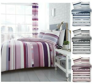 Luxuries-Impreso-Reversible-Chester-a-rayas-cubierta-del-edredon-edredon-Funda-de-Almohada-Juego-De