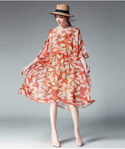 Details about Women\'s 3/4 Sleeve Elegant Chiffon Leaves Print 2 Pieces  Dress Plus Size Dresses