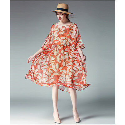 Women's 3/4 Sleeve Elegant Chiffon Leaves Print 2 Pieces Dress Plus Size Dresses