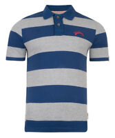 Tokyo Laundry Mens Short Sleeve Cotton Polo Shirt Stripe Pique Top Grey Blue