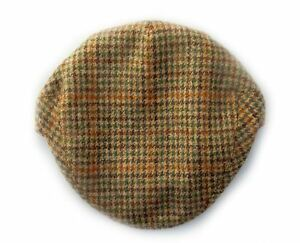 Image is loading Yorkshire-hand-tailored-wool-tweed-flat-cap-Houndstooth- b9ff0a3a845
