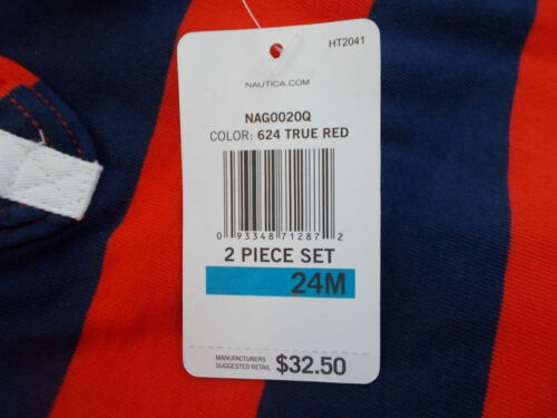 24m Infant Girls $32.50 2pc Red or Navy Striped Polo Dress Size 12m