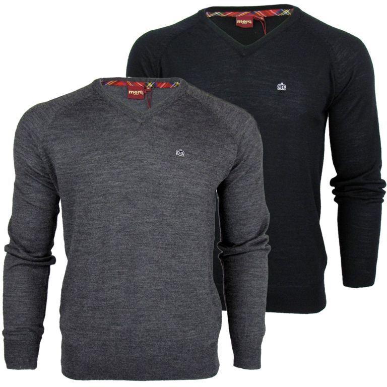 Herren Merc London V-ausschnitt Woll-pullover 'conrad' Retro