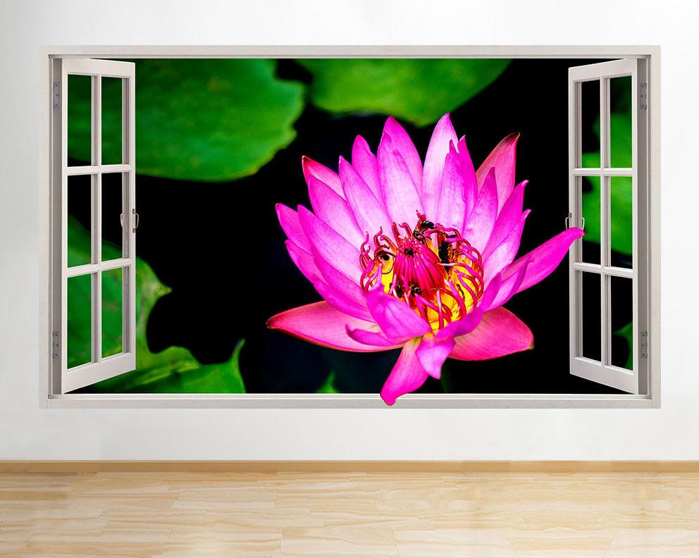 ADESIVI da Parete rosa Fiore lillipad Pond Hall Decalcomania Finestra Finestra Finestra 3D ARTE Vinile Camera C968 eabaf1