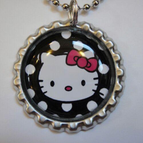 Beautiful HELLO KITTY POLKA DOTS Bottle Cap Necklace 1A