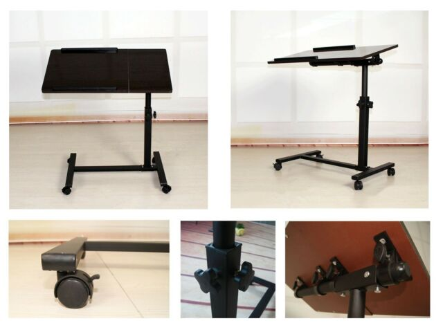 Portable Laptop Notebook Rolling Table Cart Stand Tiltable Desk New Other