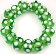 Lampwork Handmade Glass Beads Green White Polka Dot Rondelle Loose Craft Spacer