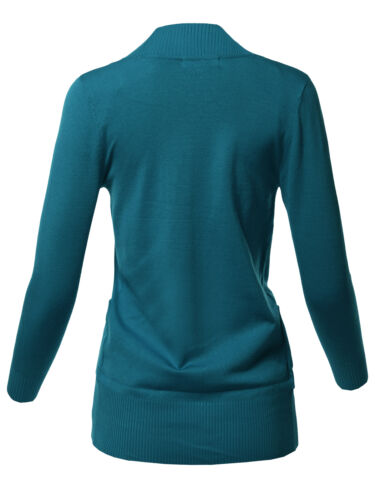 FashionOutfit Women/'s Basic Solid Long Sleeve Ribbed Banded Open Front Cardigan