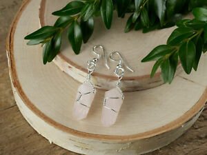 ROSE-QUARTZ-Earrings-Silver-Plated-Wire-Wrapped-Crystal-Point-Earrings-E1394