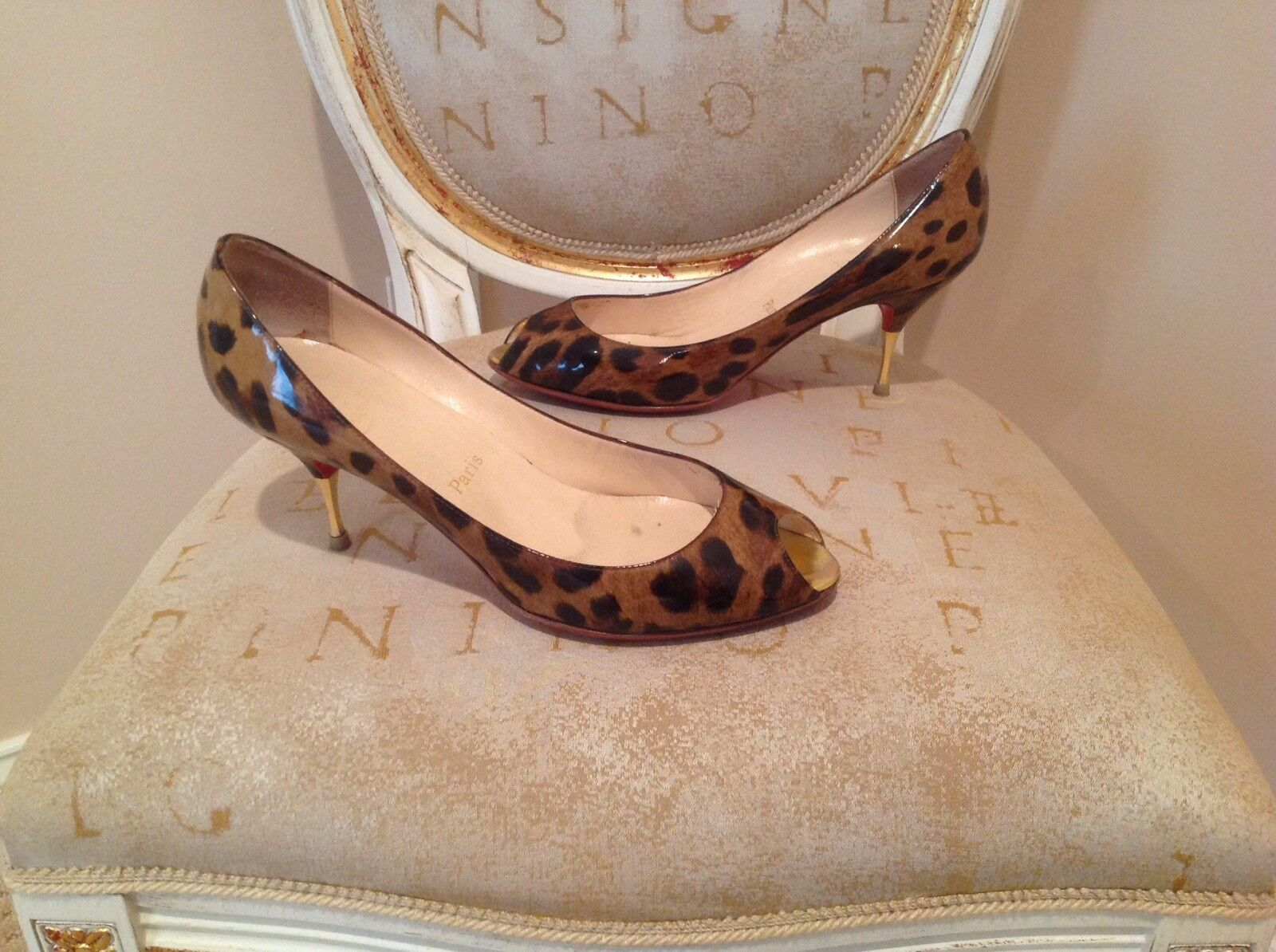 Christian Louboutin Yoyo Spina leopard print patent leather pumps.  649 retail.