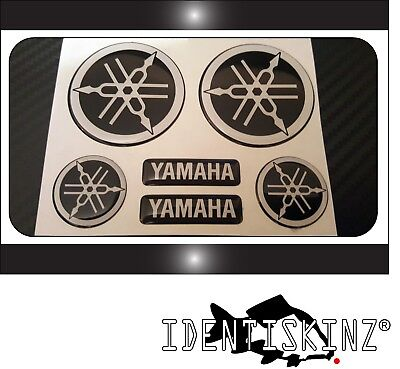 BLACK FULL KIT FORKS TANK DOMED YAMAHA BIKE ROUNDAL STICKERS DECAL SILVER