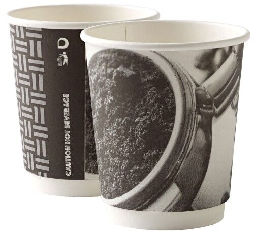 1000 8 oz (environ 226.79 g) double paroi Barista Papier Café Thé Tasses 2 plis isotherme + Noir Couvercles