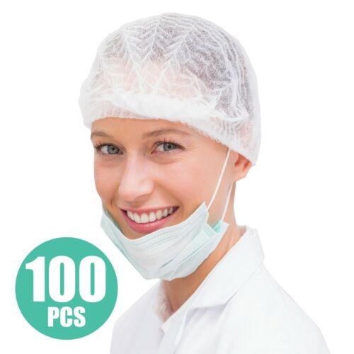 Disposable Bouffant Hair Net Caps 100Pcs Clipped Hair Head Cover