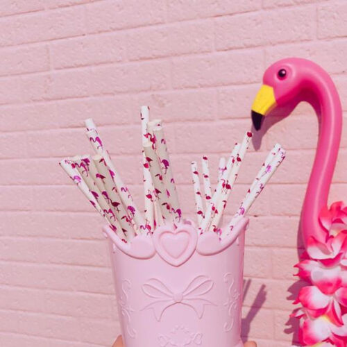 Lot Pink Flamingo Paper Drinking Straws Birthday Wedding Partyor or Baby Shower