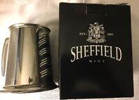 Sheffield England Pewter Bright Tankard Glass Bottom Mug Stein Metal Cup