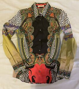 $530 Etro Size 40 2/4 Top Blouse Shirt Black Red Green Paisley Print Stretch