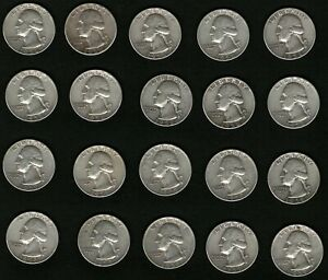 Lot-of-20-Washington-Silver-Quarters-Coins-Years-1958-and-1959