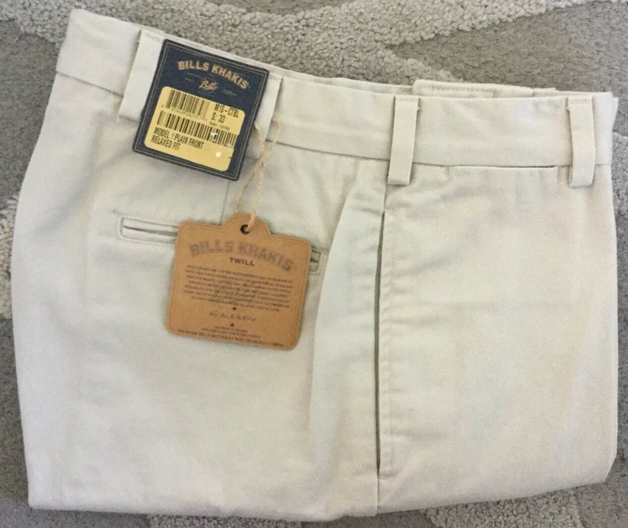 NWT-Bills Khakis Parker M1S-CTBL Relaxed Shorts-CEMENT SZ 33-