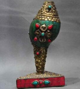 "6""old tibet bronze Inlay Turquoise Red Coral buddhism Conch Trumpet Horn Shell A"