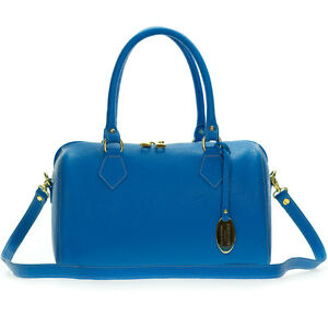 Image is loading Giordano-Italian-Made-Bright-Azure-Blue-Leather-Structured- 0fa16f7e5b268