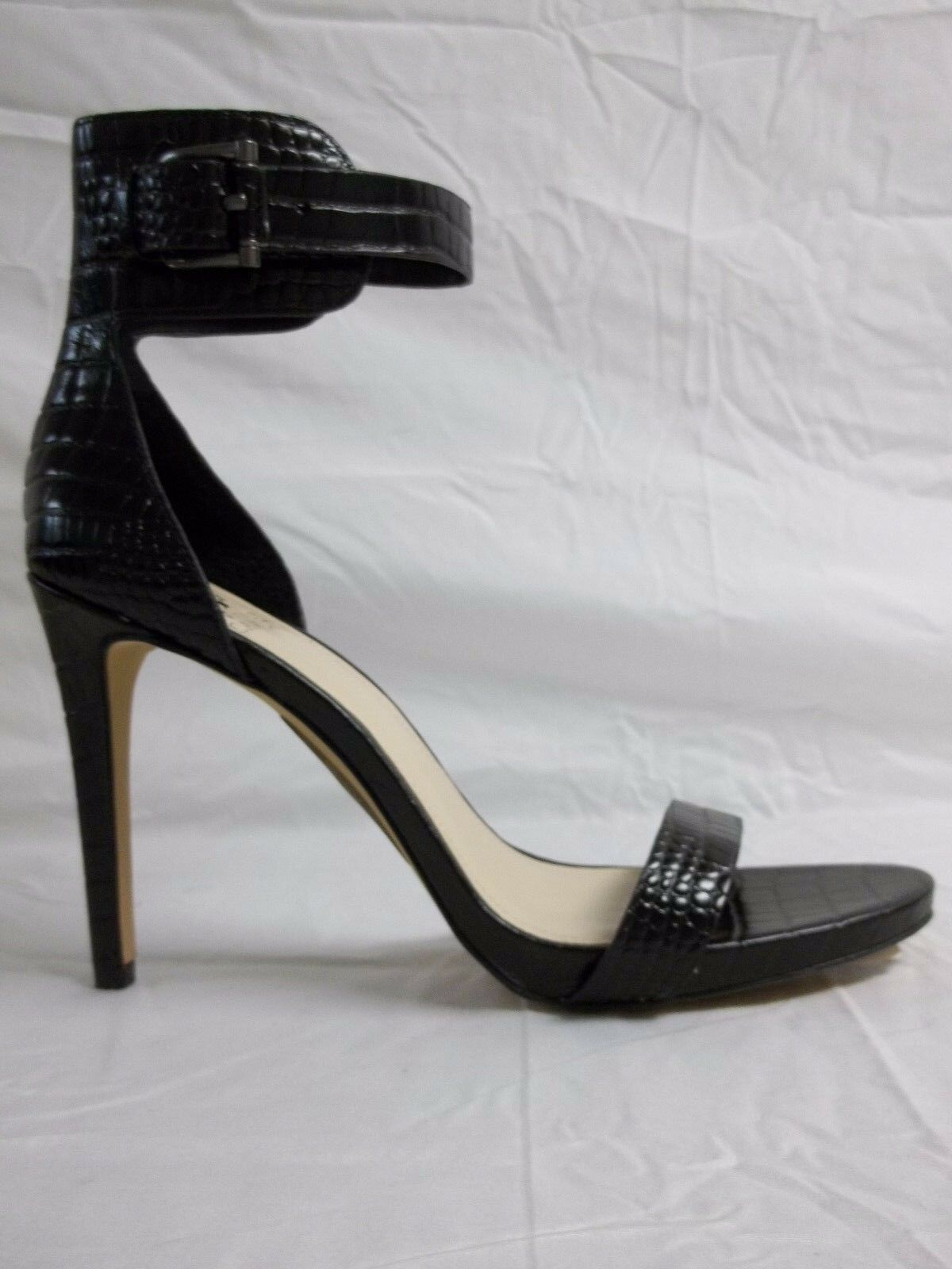 Vince Camuto Size 9 M Farella Black Leather Leather Leather Open Toe Heels New Womens shoes NWB 8daad0