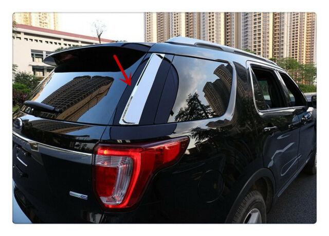 Chromed 2PCS Rear Window Spoiler Side Cover Trim New For Ford Ecosport 2013-16