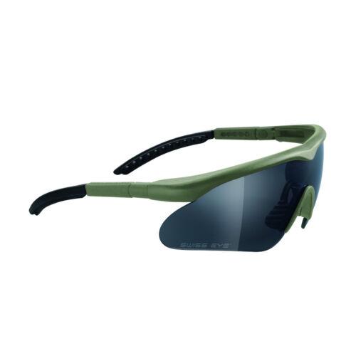 OLIVE GREEN FRAME Army Shatterproof 3 Lenses Swiss Eye RAPTOR Sunglasses