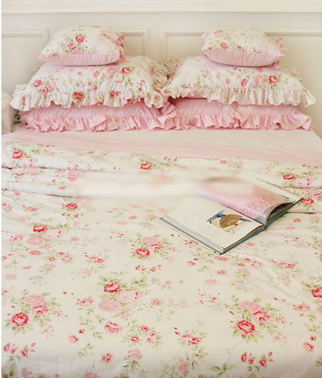 Quilt Cover Set King Duvet bedding Ruffled Floral Shabby Chic Pillow White Pink