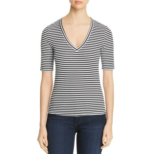 THREE DOTS 9754 Womens Striped V Neck Tee T-Shirt Top BHFO