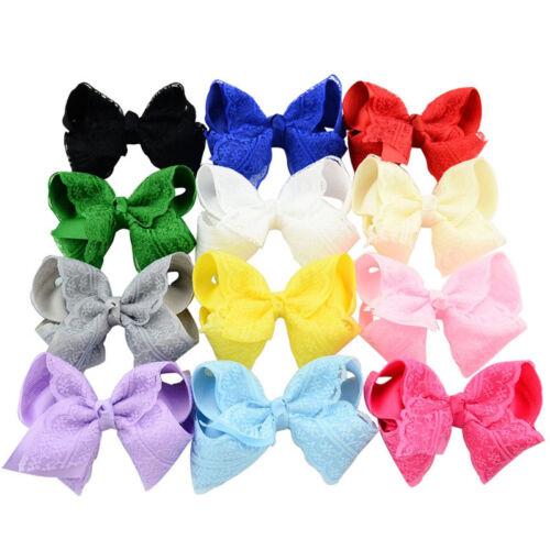 """12pcs 4 /"""" Girls Grosgrain Ribbon Bows Baby Hairpins Hair Clip Accessories Hot"""