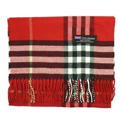 Men/'s 100/% CASHMERE Scarf Vintage White Big Plaid Stripe Design Soft Winter Warm