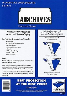 25 Mylar Archives 4 mil GOLDEN AGE  HEAVY DUTY Comic  Bag Sleeves E.Gerber 800R