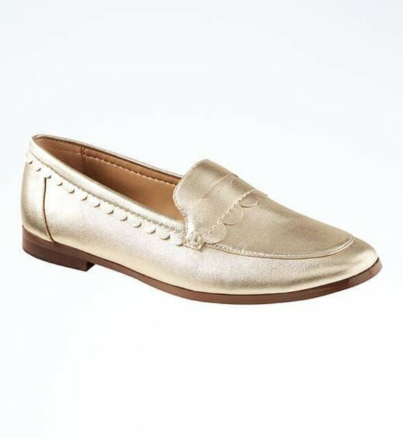 18f64af9a68a Banana Republic women s Gold metallic leather demi scallop loafer flat shoes  8