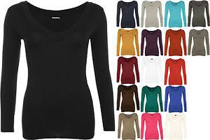New-Womens-Plain-Jersey-V-Neck-Ladies-Basic-Long-Sleeve-Stretch-T-Shirt-Top-8-14