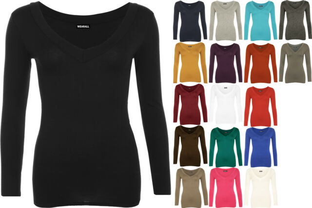 New Womens Plain Jersey V-Neck Ladies Basic Long Sleeve Stretch T-Shirt Top 8-14